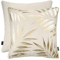 Rocco Designer Velvet Metallic Leaf Filled Cushion Cream Gold 43cm x 43cm